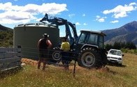 30,000 litre water tank in final position at Muntanui, South Island, New Zealand
